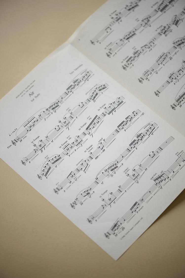 武満の遺作ともなったフルートのための独奏曲「Air」の楽譜