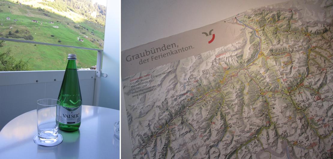 グラウビュンデンの山岳地帯の地図