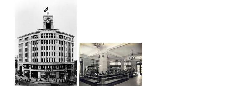 和光竣工当時の服部時計店。/1階売り場。