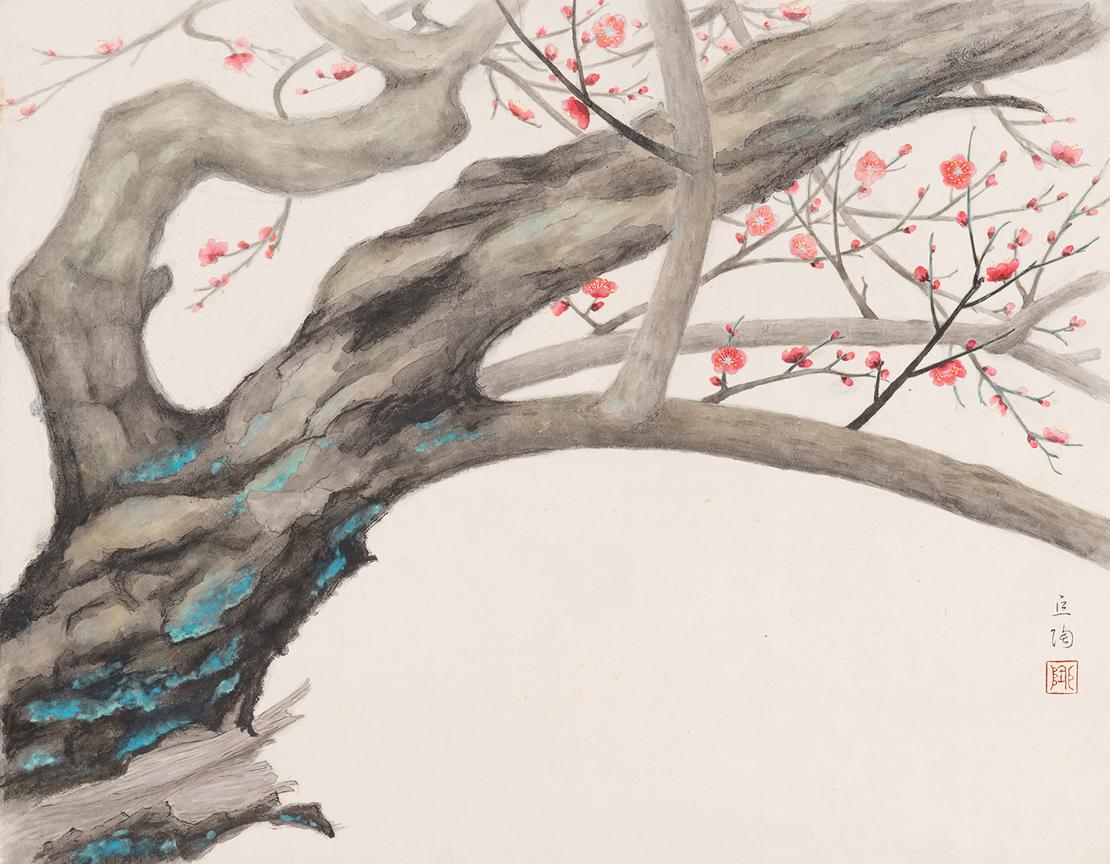 静嘉堂文庫美術館『岩崎家のお雛さま』展で展示されている伝 尾形光琳「紅白梅図屏風」