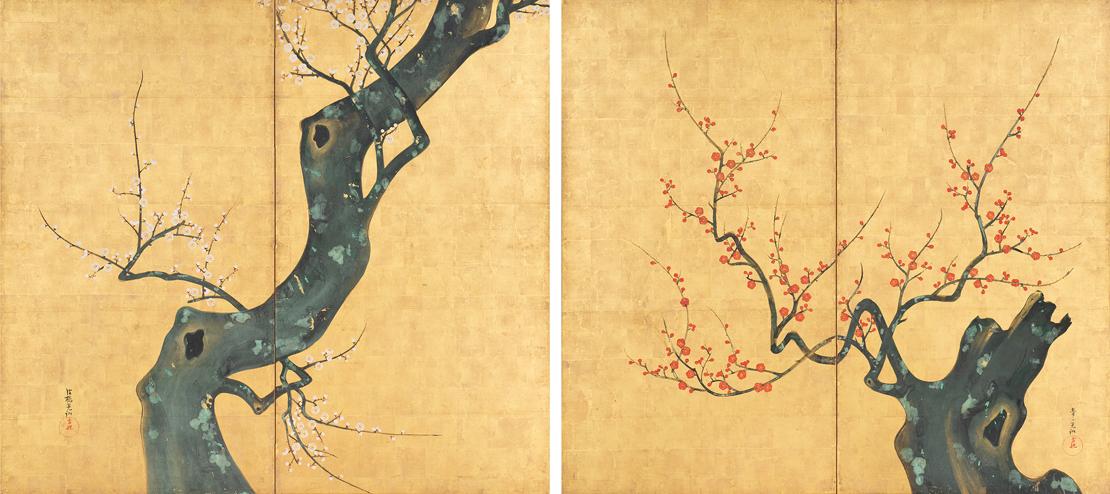 静嘉堂文庫美術館『岩崎家のお雛さま』展で展示されている岩﨑小彌太「紅梅図」