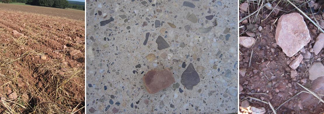 あぜ道と粘土質の砂石
