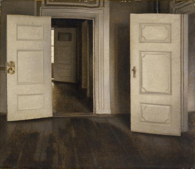 ヴィルヘルム・ハマスホイ 《室内―開いた扉、ストランゲーゼ30番地》