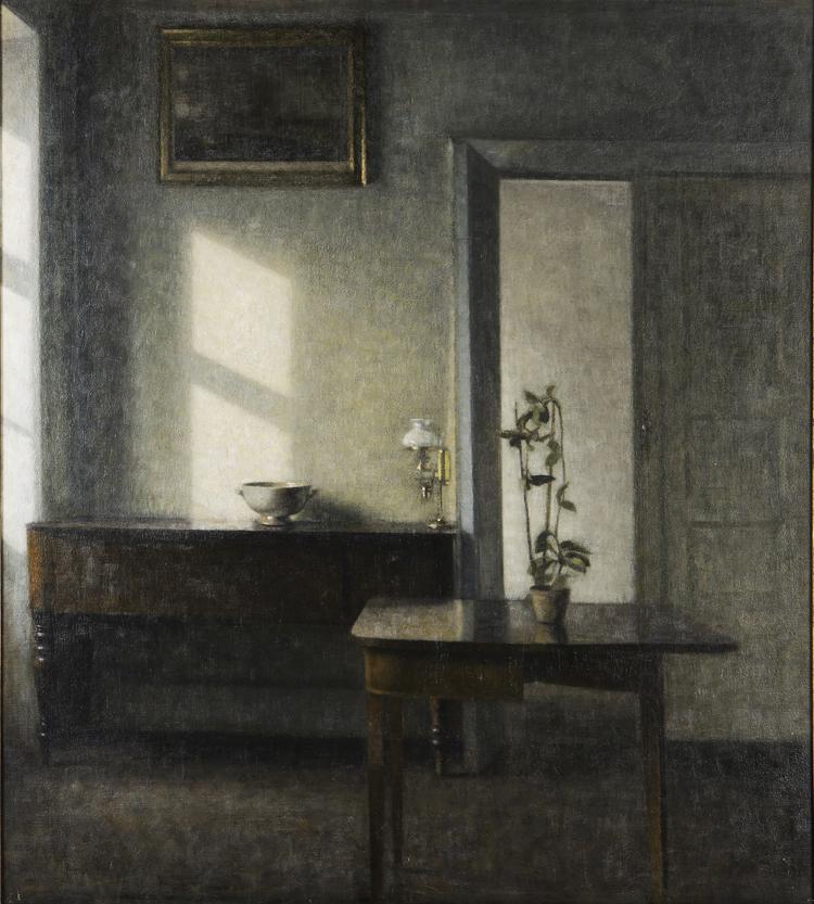 ヴィルヘルム・ハマスホイ 《カード・テーブルと鉢植えのある室内、ブレズゲーゼ25番地》