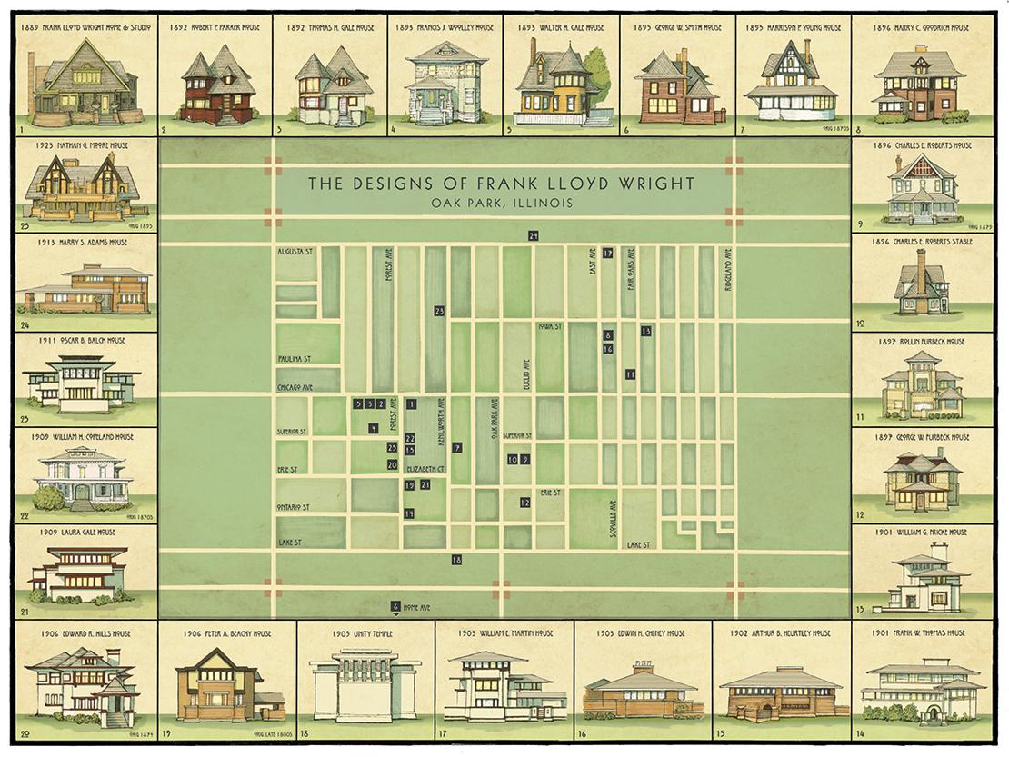 フランク・ロイド・ライトが設計した住宅マップ
